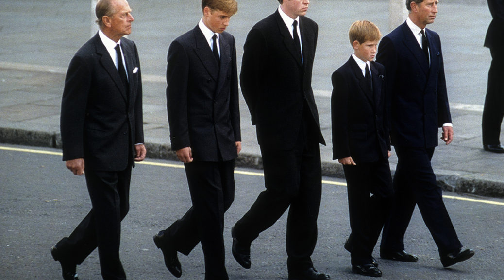Prince Philip, the Duke of Edinburgh, Prince William, Earl Spencer, Prince Harry and Prince Charles, the Prince of Wales follow the coffin of Diana, Princess of Wales on September 6, 1997 in London, England.  The funeral took place seven days after she was killed in an automobile accident in Paris. Members of the royal family walked in the procession behind the coffin, as did 500 representatives of the charities associated with the Princess.  At least a million people lined the streets of central London to watch the procession from Kensington Palace to Westminster Abbey.   (Photo by Anwar Hussein)